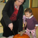 Our next step was to cut the big pumpkin open...