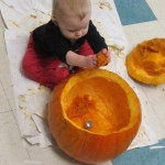 Clara spent a long time by herself with the pumpkin after her friends were done.
