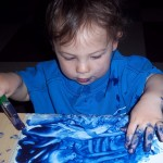 But he mostly continued using his fingers to make marks in the paint.